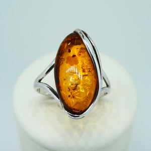 Amber Marquise Ring Sterling Silver 2
