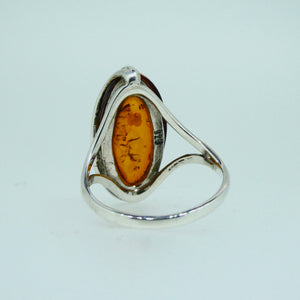 Amber Marquise Ring Sterling Silver 10
