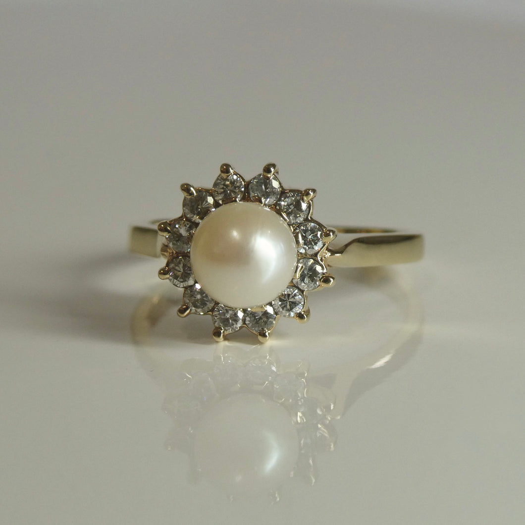 9ct Pearl and Diamond Halo Ring 0.24ct TW of Diamonds
