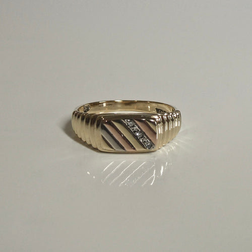 9ct Tri-Tone Signet Style Diamond Ring
