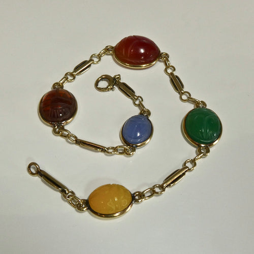 14ct Yellow Gold Vintage Scarab Bracelet - 21cm total length.