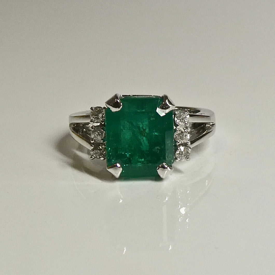 3.60ct Emerald and Diamond Ring 14ct