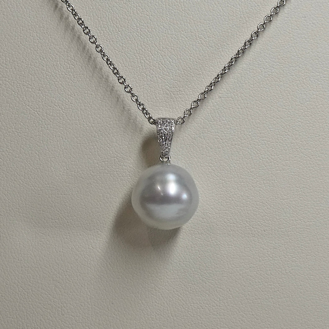 18ct South Sea Circléd Pearl & Diamond Pendant
