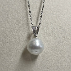 18ct South Sea Circléd Pearl & Diamond Pendant 1