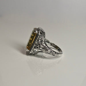 Silver 925 Yellow Stone Ring 1