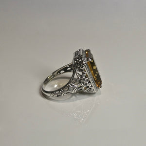 Silver 925 Yellow Stone Ring 3