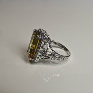 Silver 925 Yellow Stone Ring 4