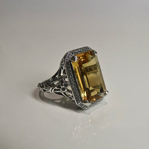 Silver 925 Yellow Stone Ring 5