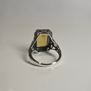 Silver 925 Yellow Stone Ring 2
