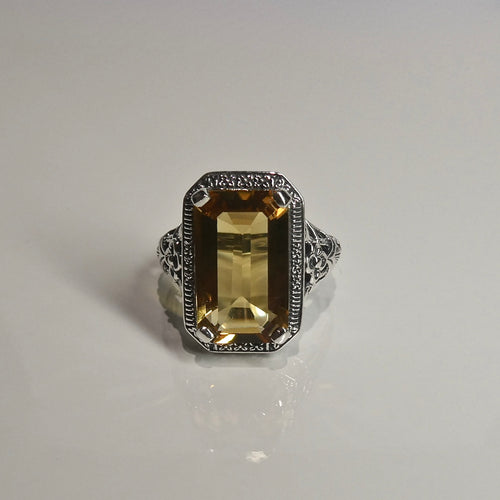 Silver 925 Yellow Stone Ring