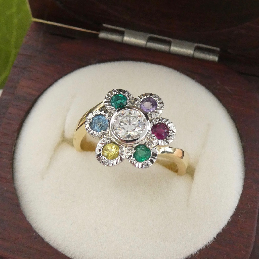 Gemstone Flower Ring Bespoke Jewellery