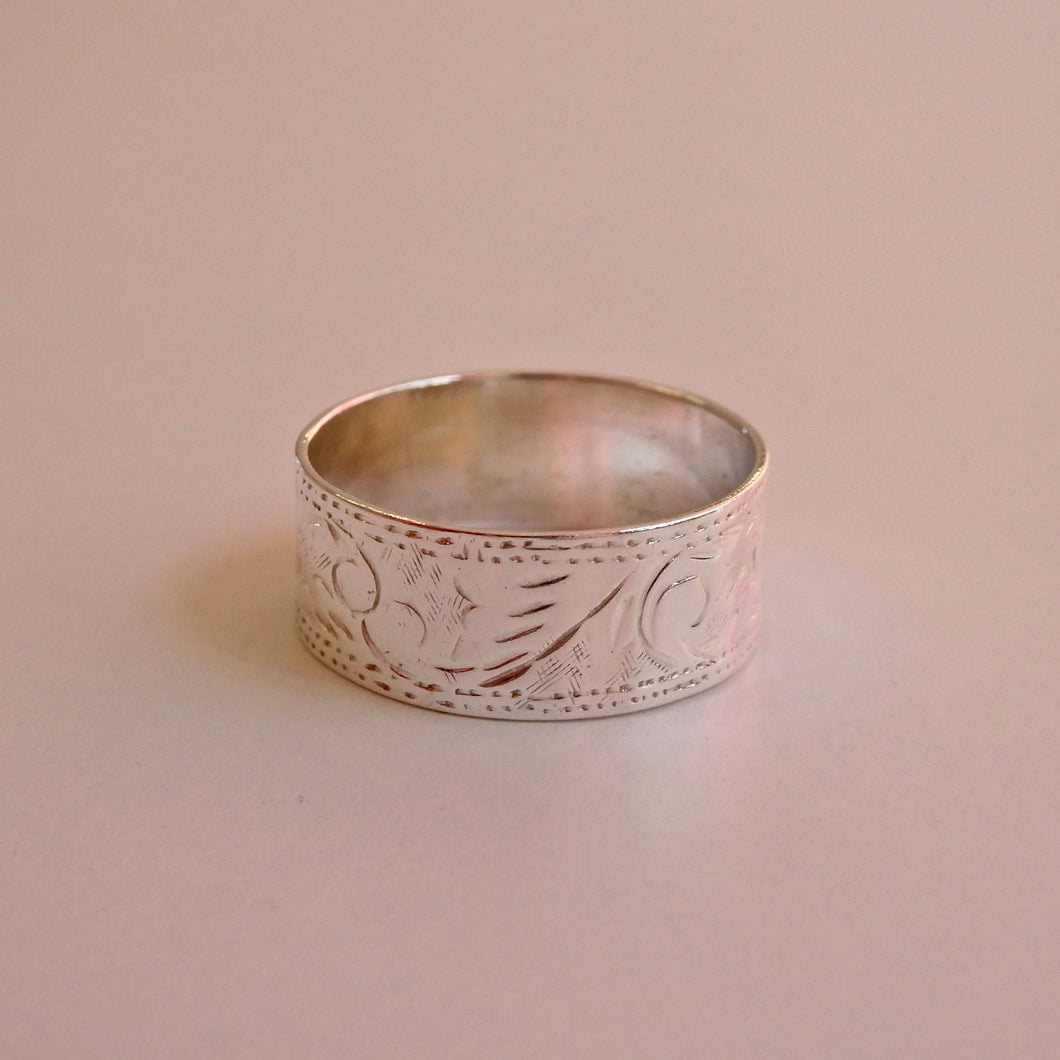 Handmade Engraved Ring 925 Silver