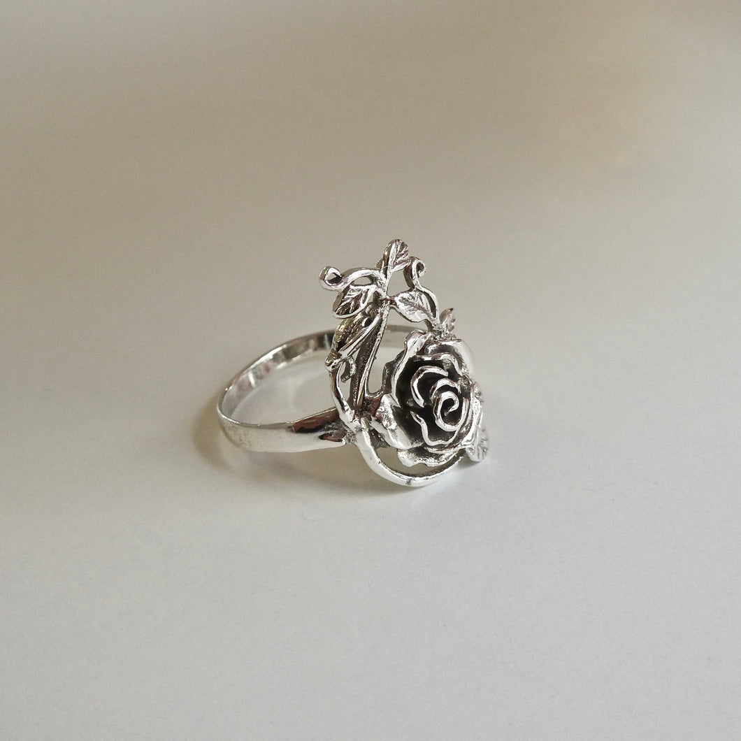 Handmade Rose Ring 925 Silver