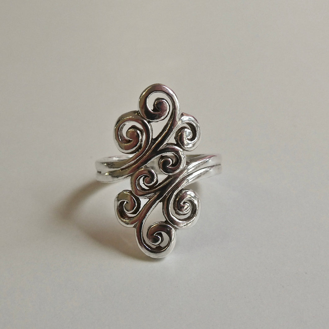 Ornate Curl Ring 925 Silver