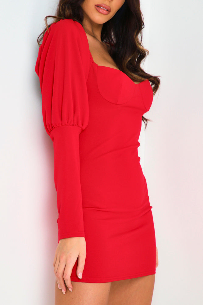 Red Off Shoulder Puff Sleeve Sweetheart Neck Bodycon Dress