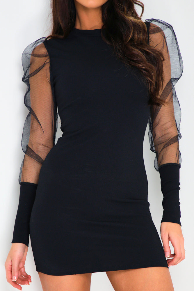 Black Fishnet Puff Sleeve Mini Dress