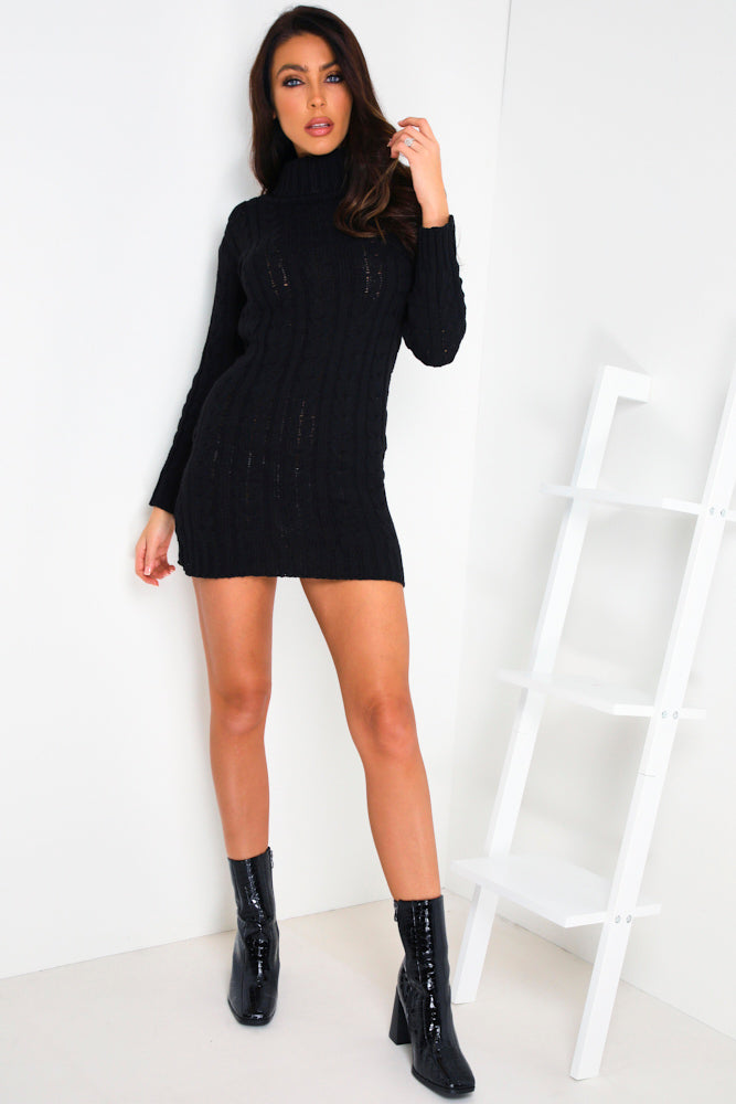 Black Roll Neck Cable Knitted Jumper Dress