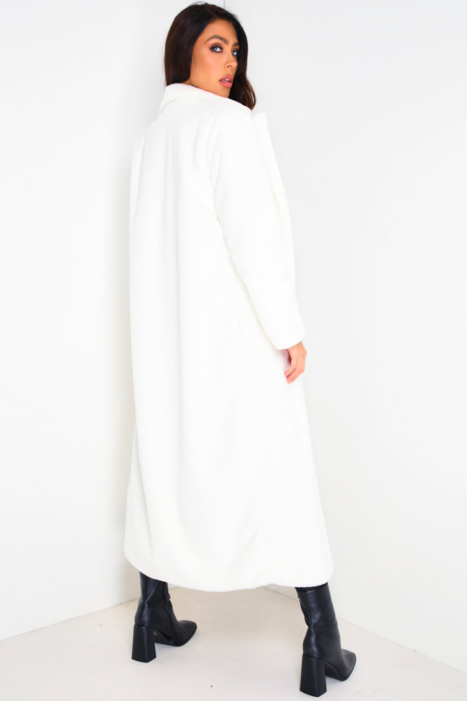 White Longline Faux Fur Coat