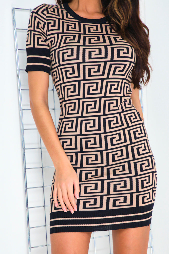 Brown Aztec Bodycon Knitted Dress