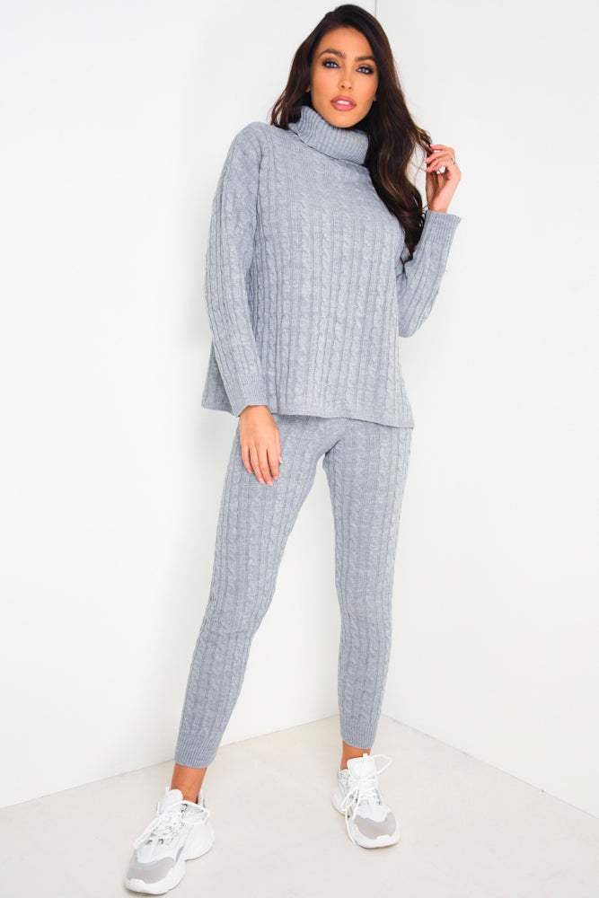Grey Cable Knit Co-Ord