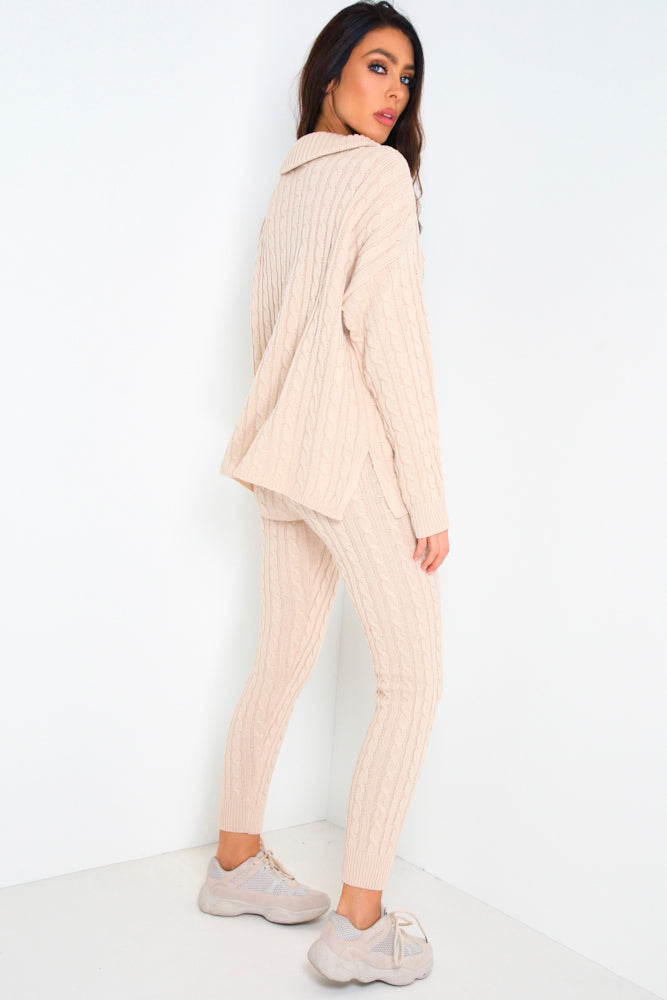 Stone Cable Knit Co-Ord