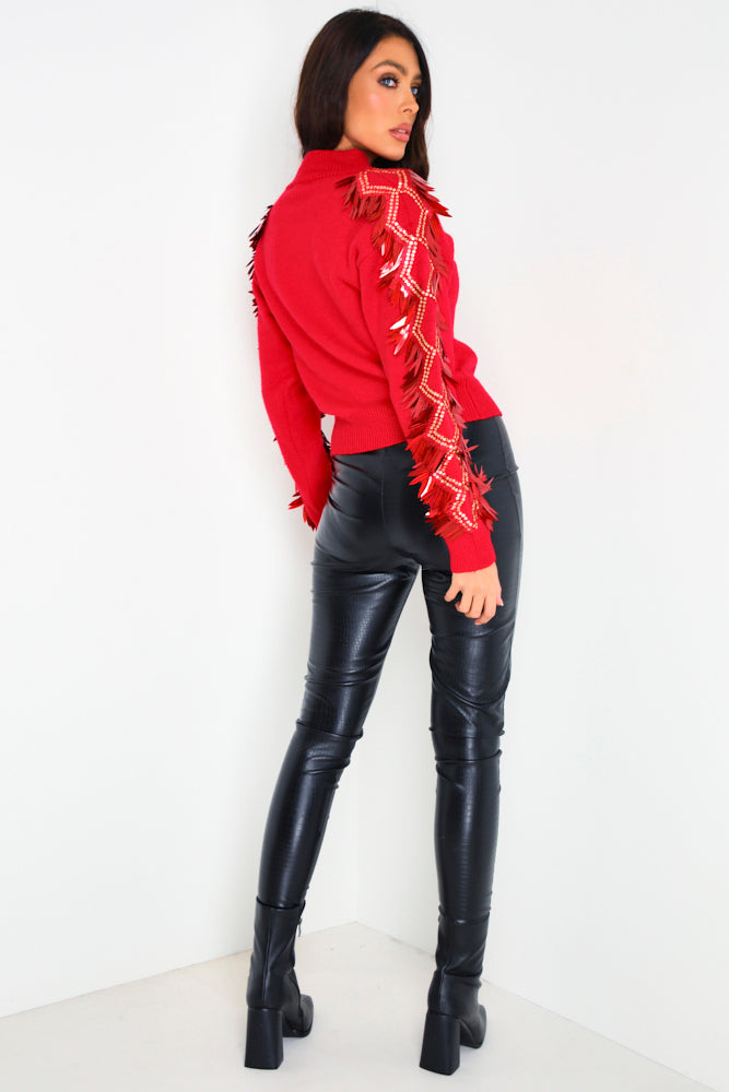 Red Sequin Detail Jumper by Lasula