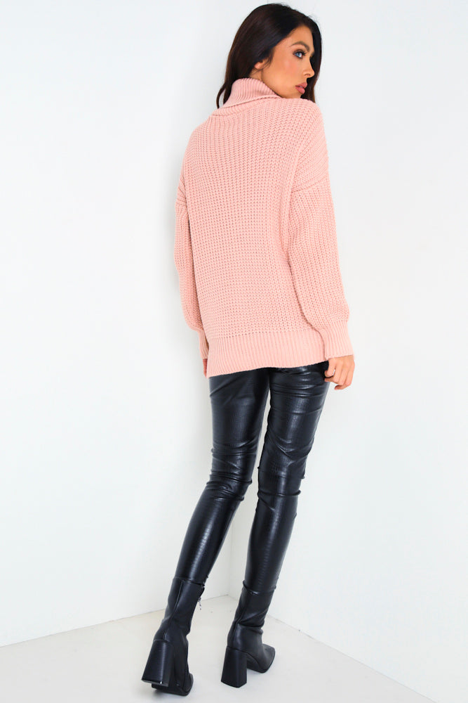 Dusky Pink Roll Neck Cable Knit Jumper