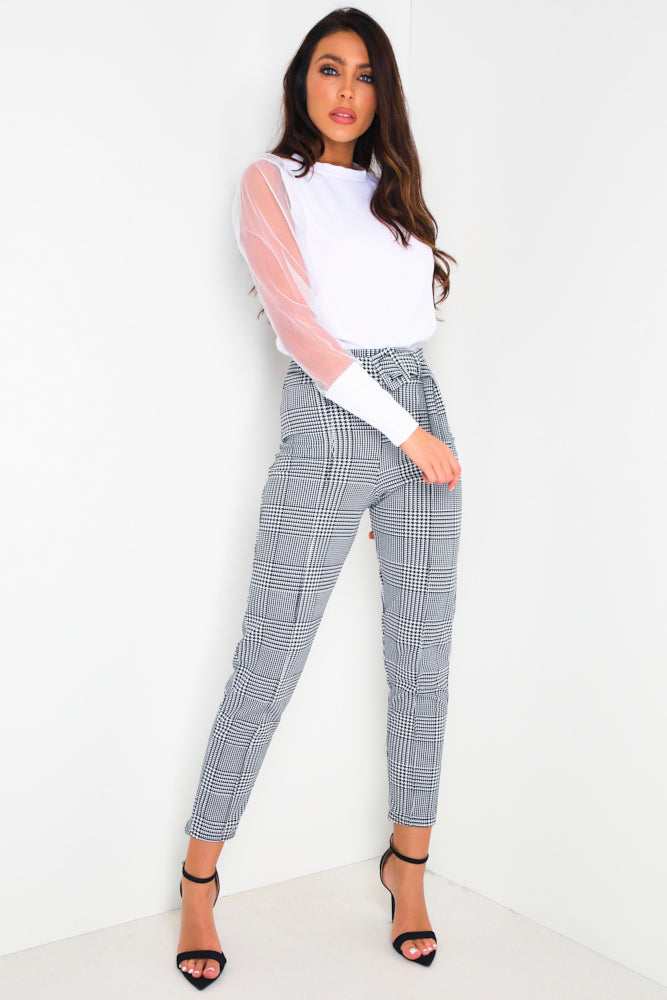 Black & White Houndstooth Belted Trousers