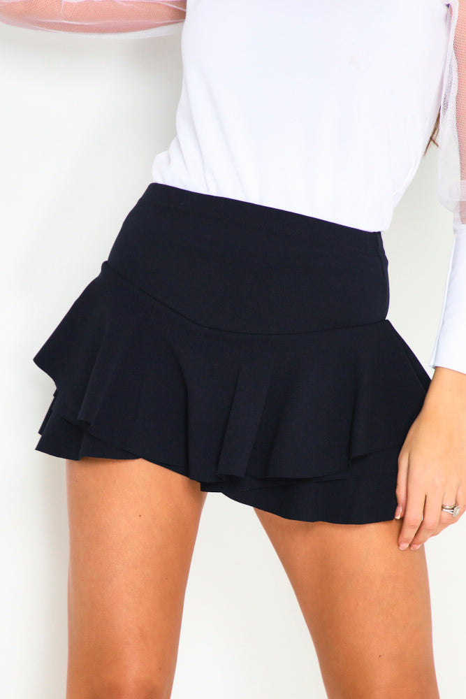 Black Frill High Waisted Skort