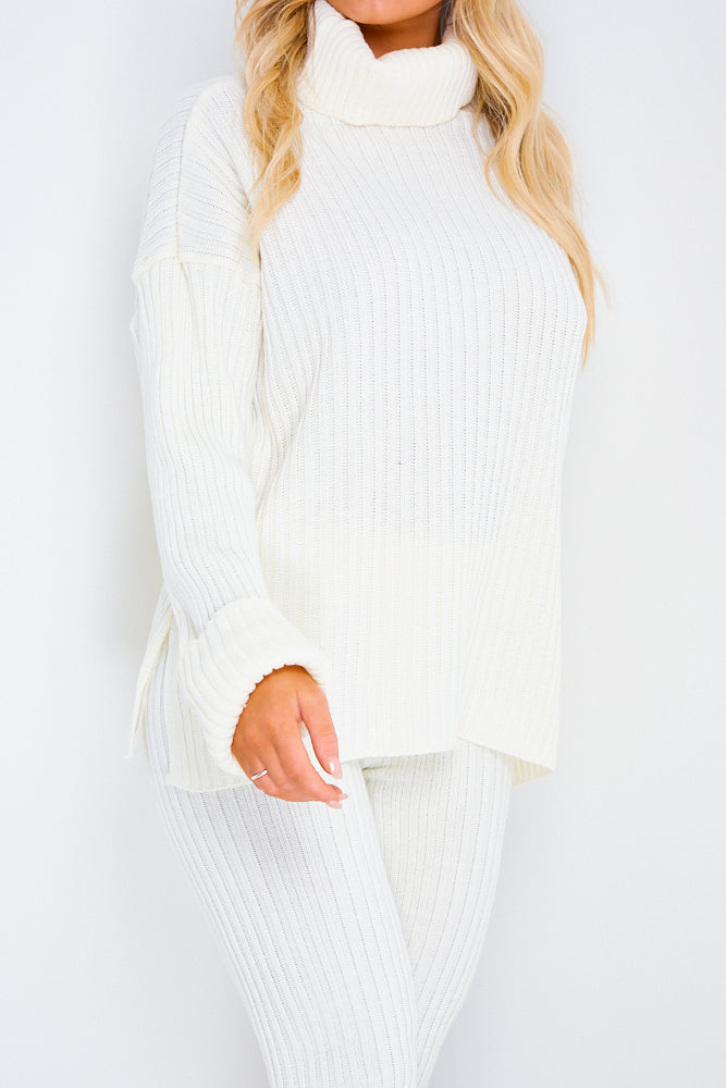 White Oversized Roll Neck Co-Ord