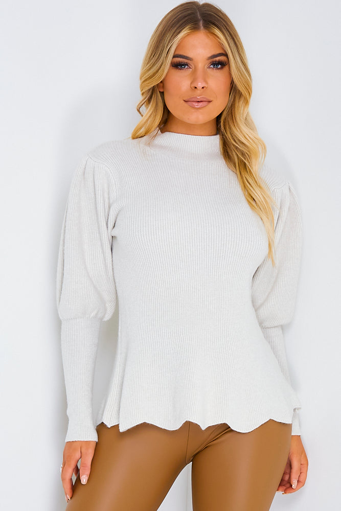 Stone Ribbed Scallop Hem Balloon Sleeve Jumper