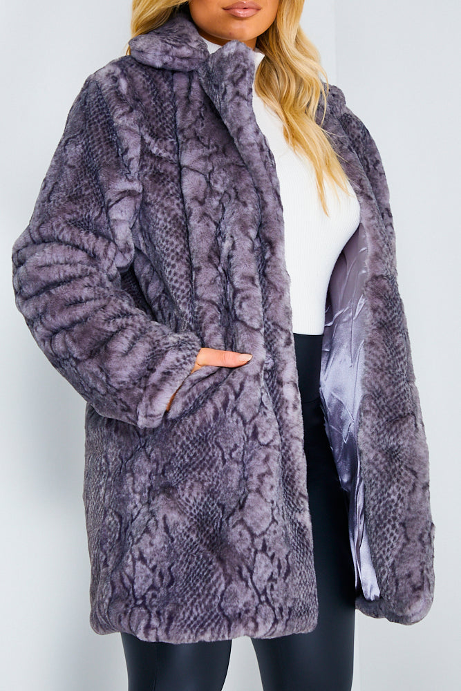 Grey Snake Print Faux Fur Coat