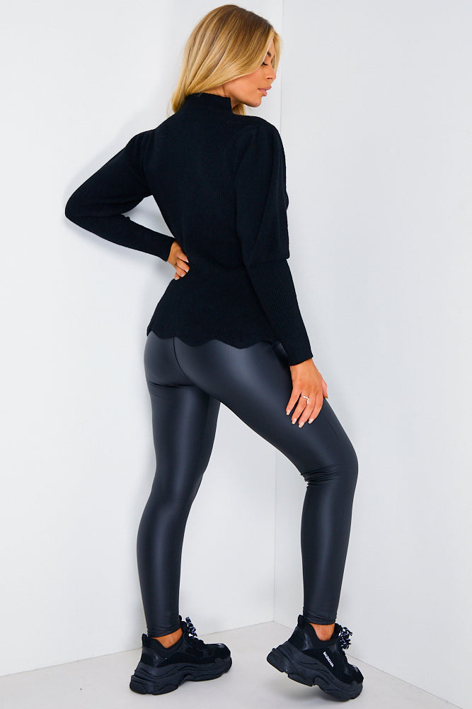 Black Ribbed Scallop Hem Balloon Sleeve Jumper