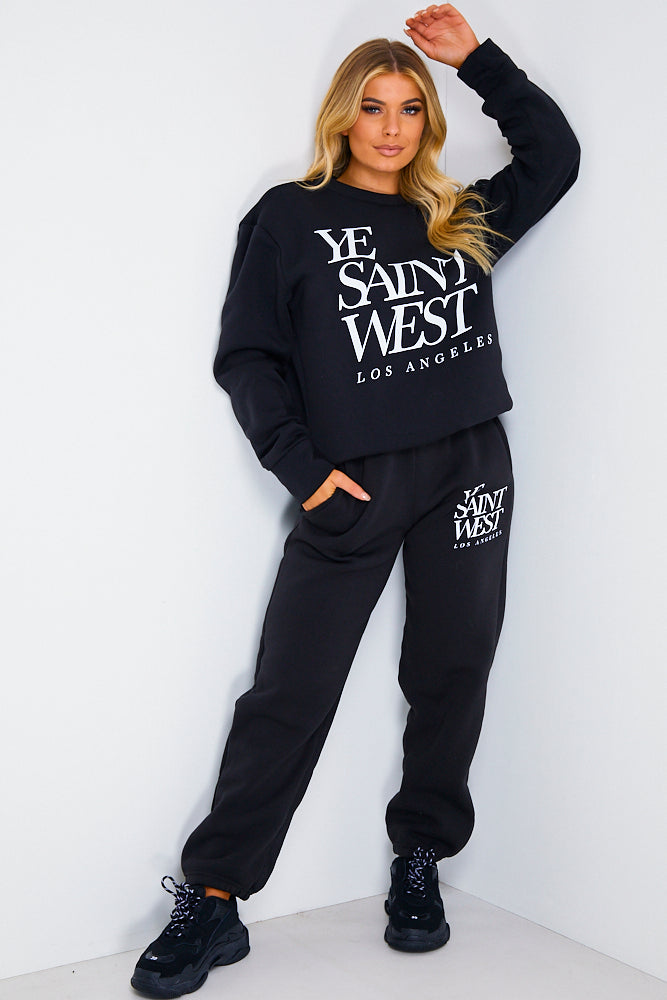 Black Ye Saint West Slogan Loungewear Set