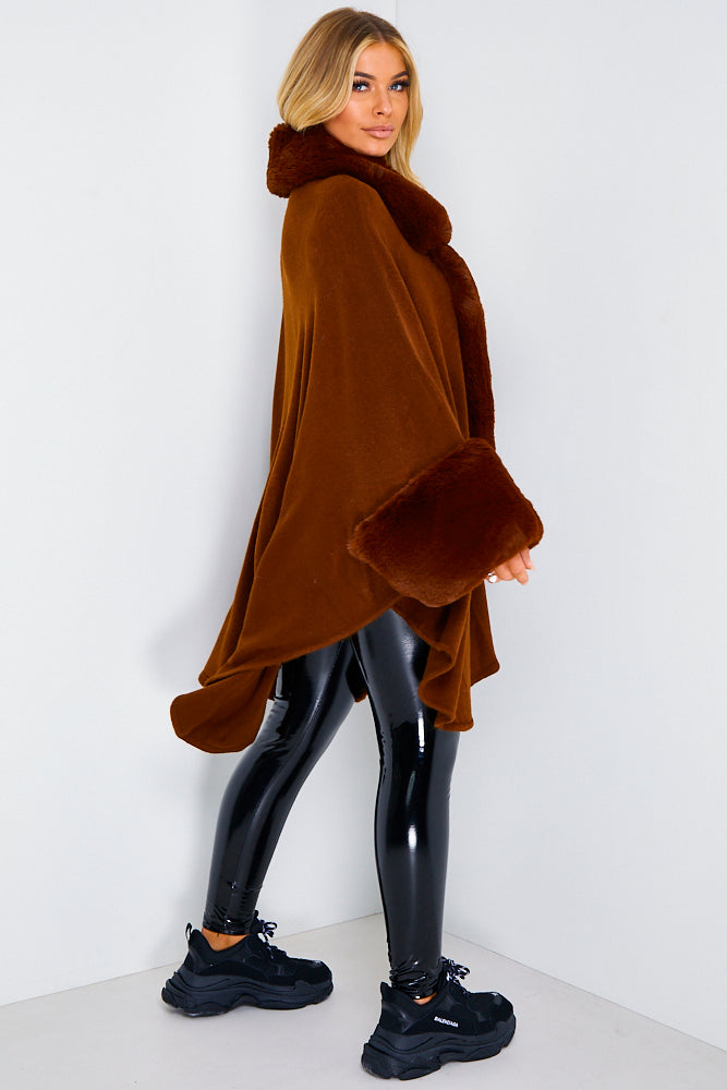 Brown Faux Fur Cape