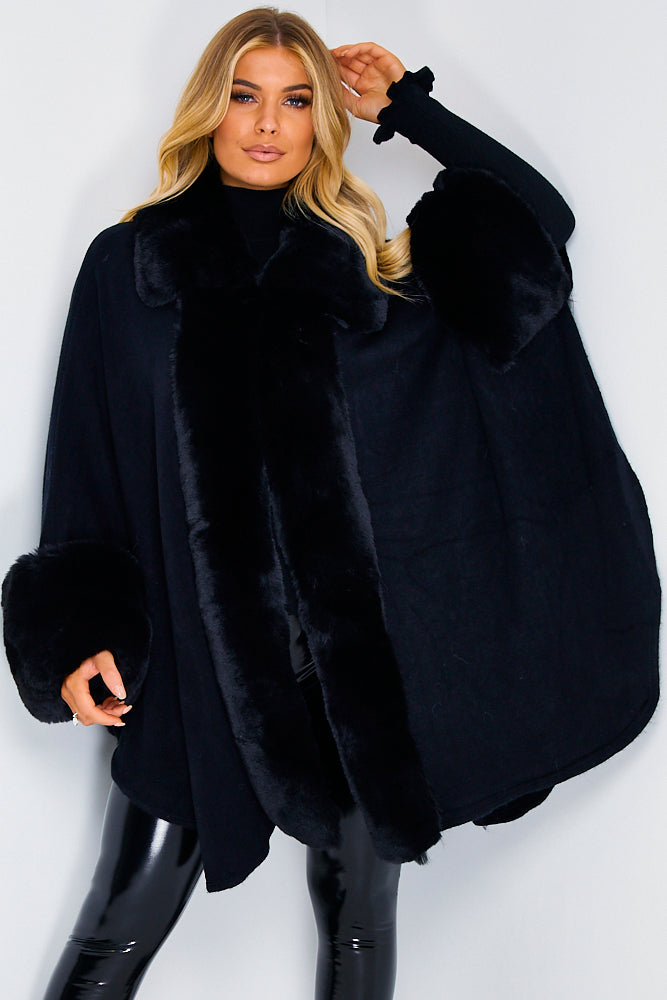 Black Faux Fur Cape
