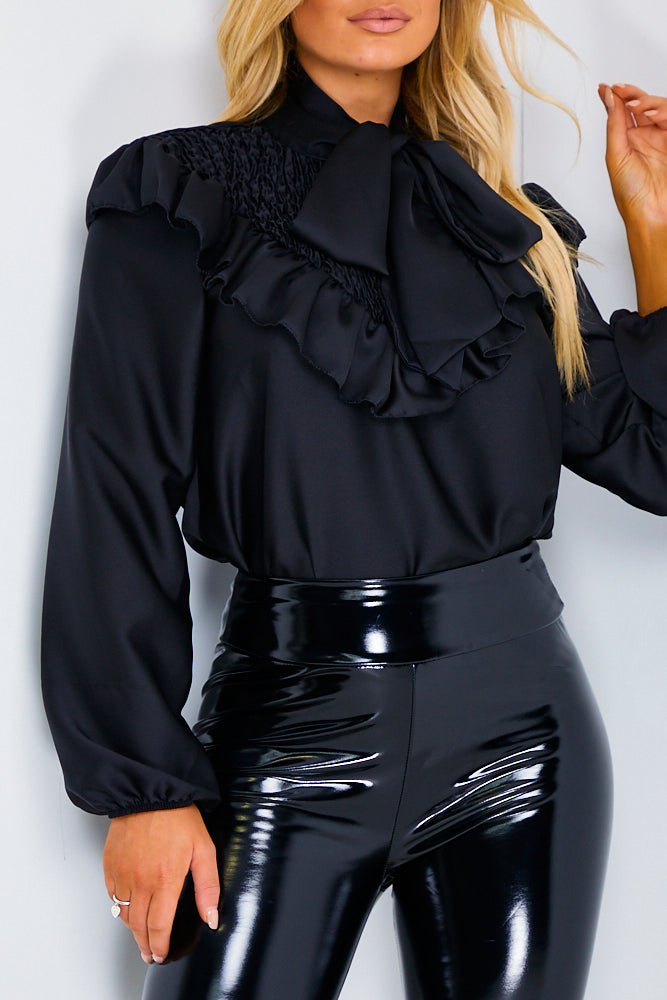 Black Frill Bow Neck Satin Shirt