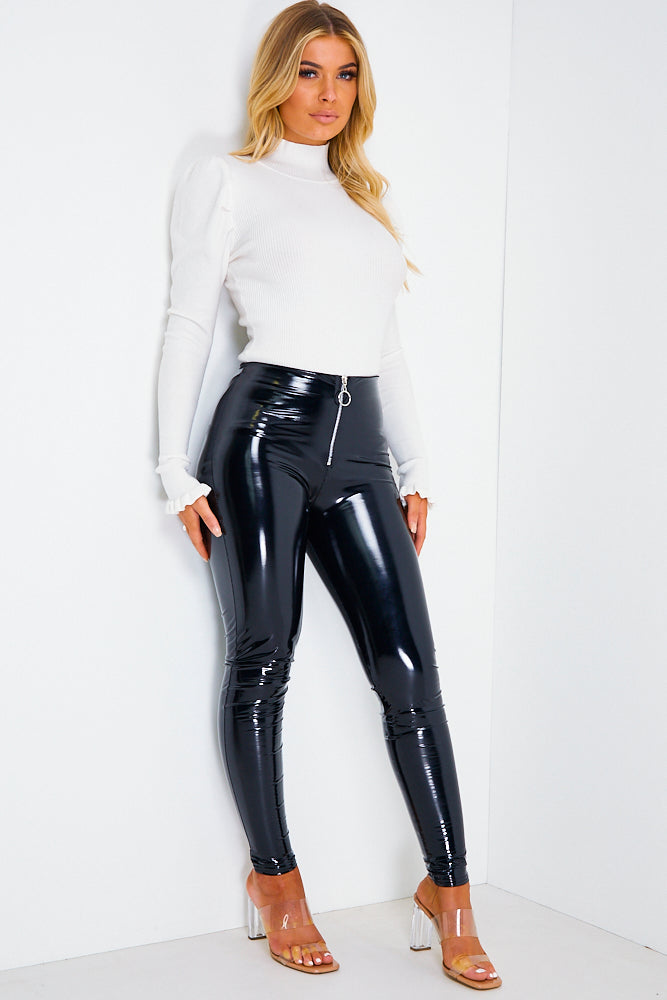 Black Vinyl Leggings with Zip
