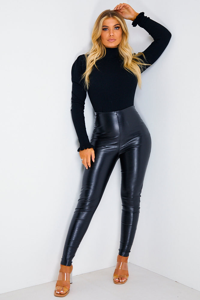 Black Faux Leather Croc Print High Waisted Leggings