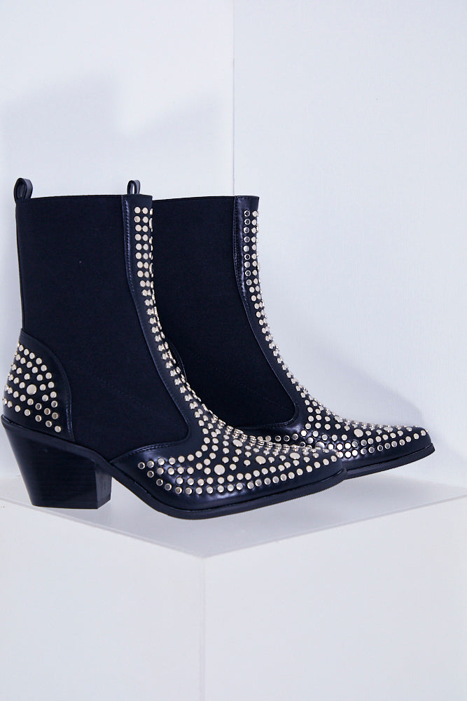 Black Studded Pointy Ankle Boots