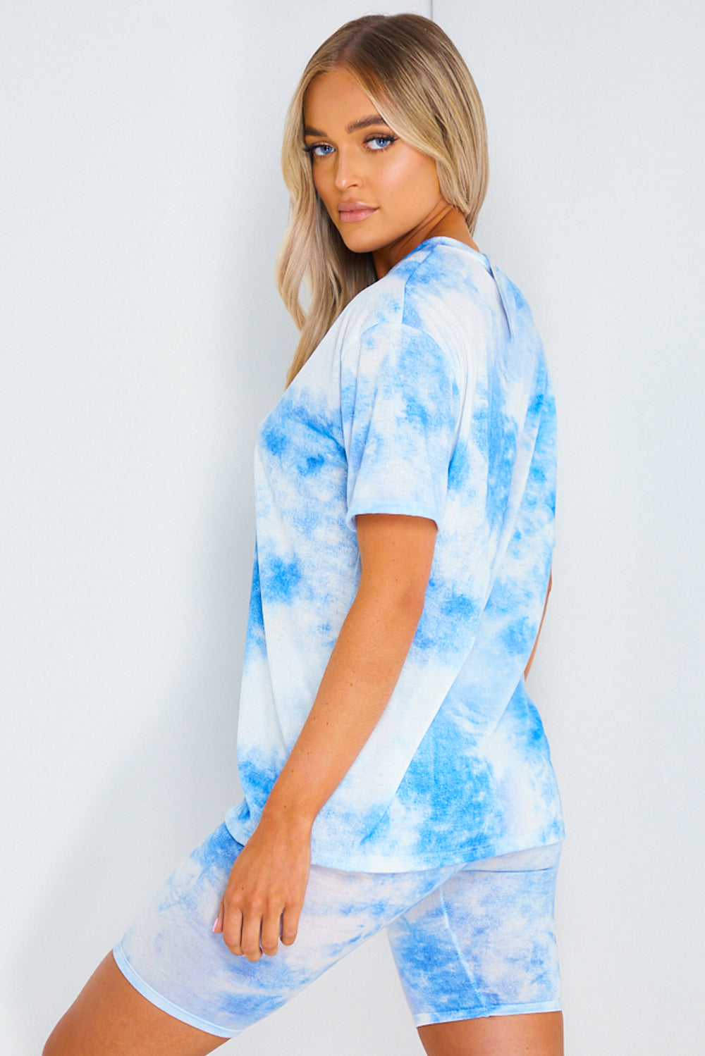 Blue Tie Dye Oversized T-Shirt and Shorts Co-ord Set