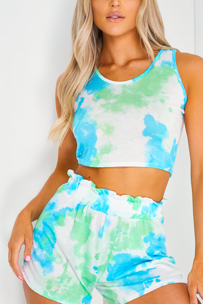 Green and Blue Tie Dye Sleeveless Crop Top and Shorts Co-ord Set
