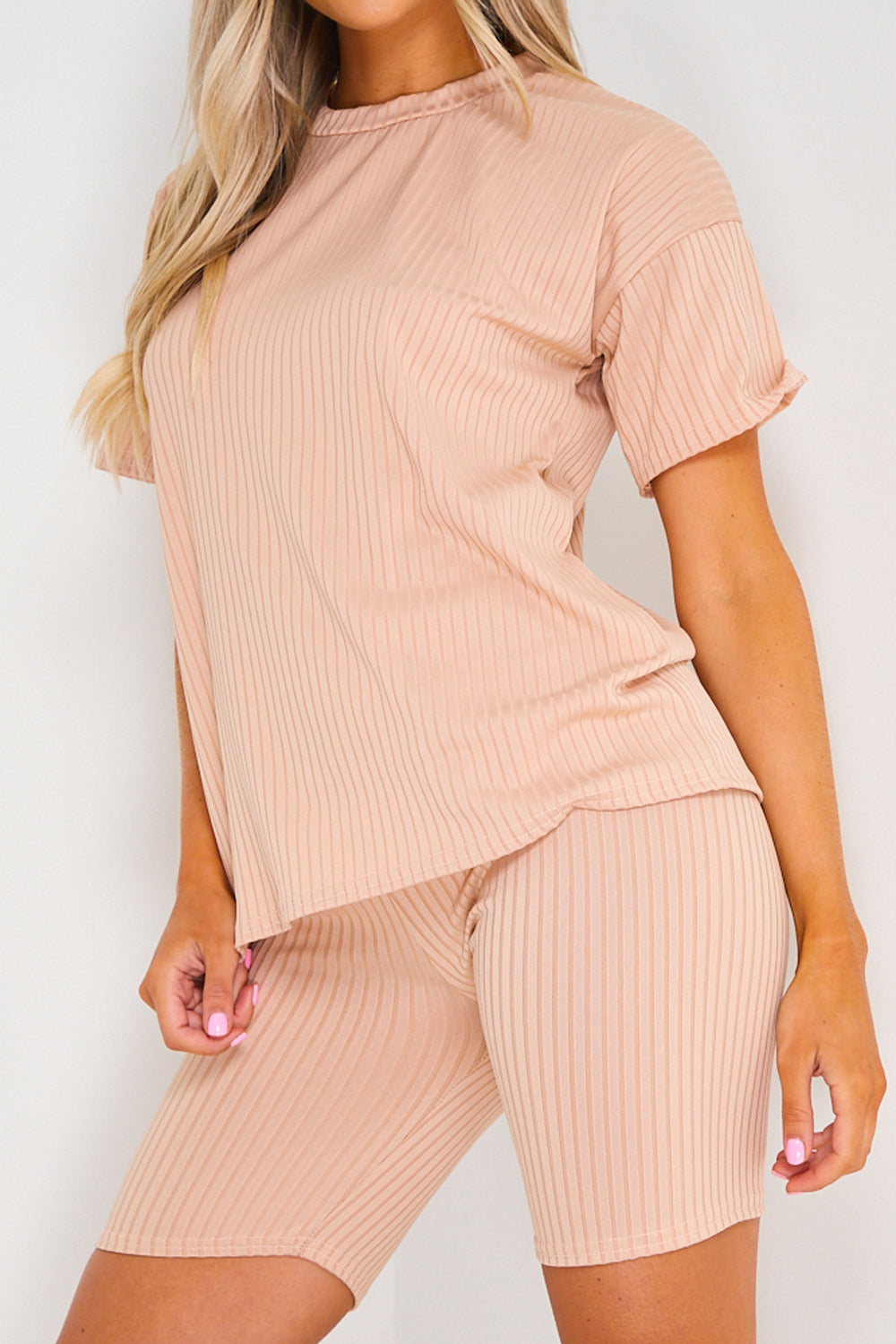 Camel Ribbed Oversized T-Shirt and Shorts Co-ord Set