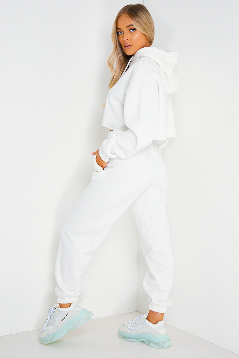 White Cropped Hoodie and Joggers Tracksuit Set