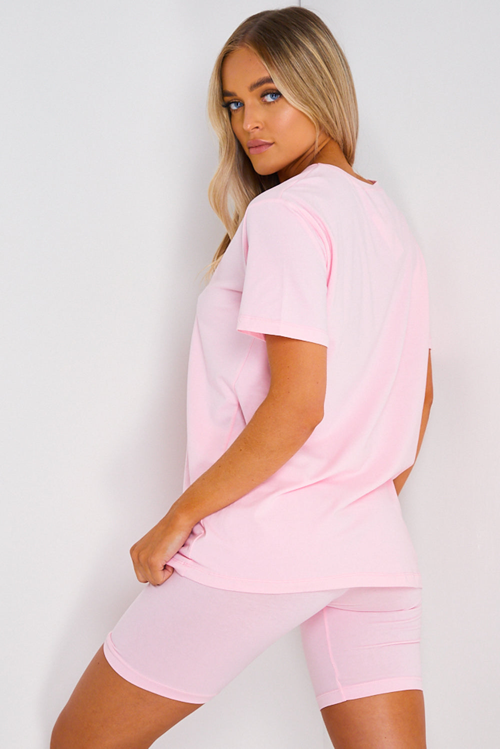 Baby Pink Oversized T-Shirt and Shorts Co-Ord Set