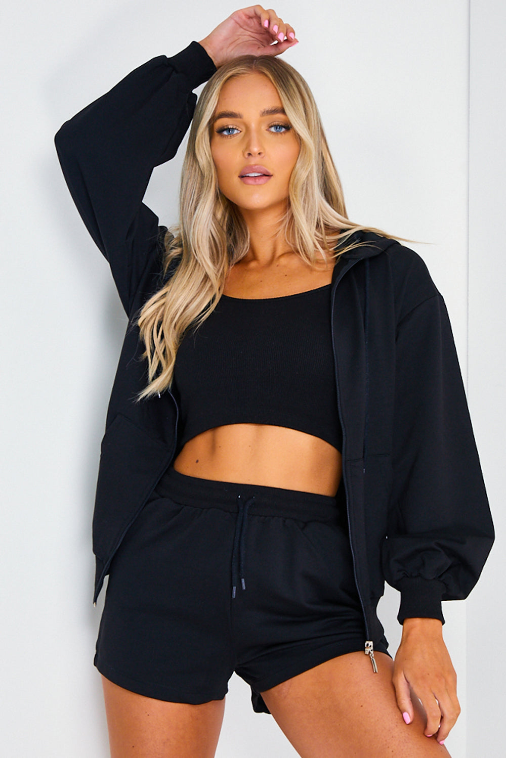 Black 3 Piece Hoodie, Crop Top and Shorts Loungewear Set