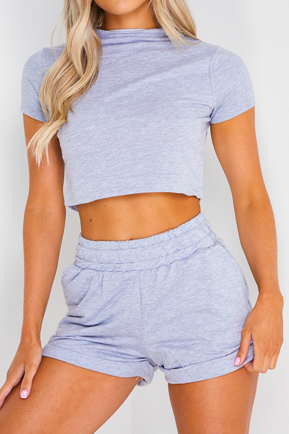 Grey High Neck Crop Top and Shorts Co-ord Set