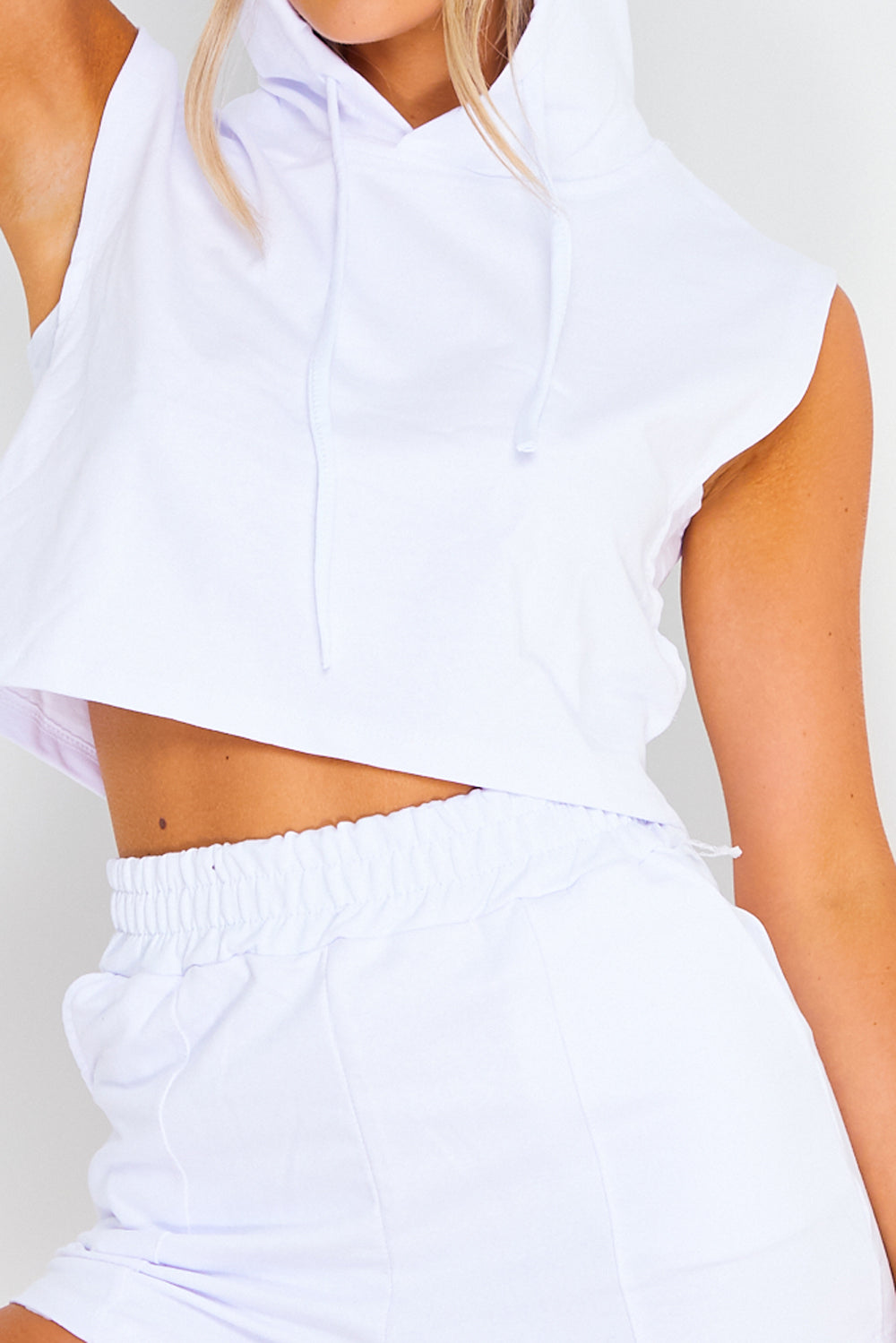 White Sleeveless Hoodie and Shorts Co-ord Set