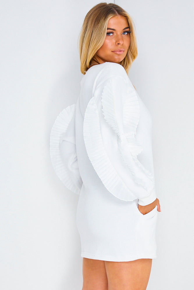 White Frill Sleeve Sweater Dress
