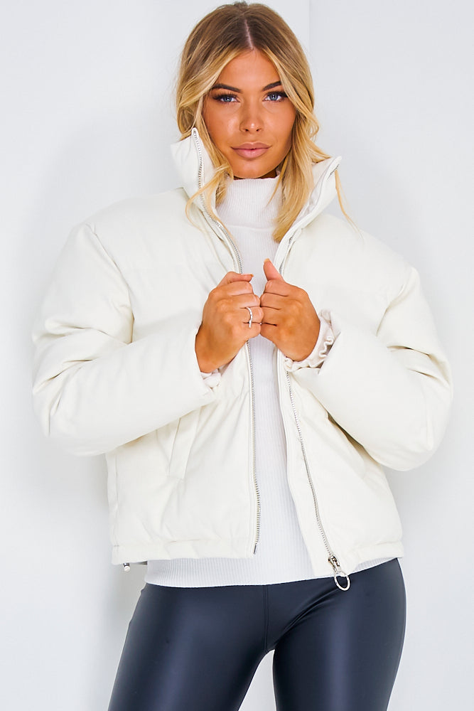 White PU Zip Up Puffer Jacket